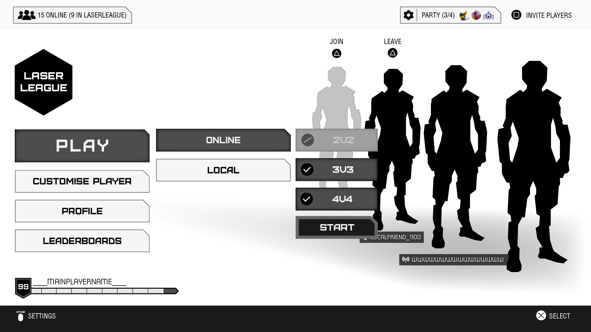 Laser League wireframe example for team size play online
